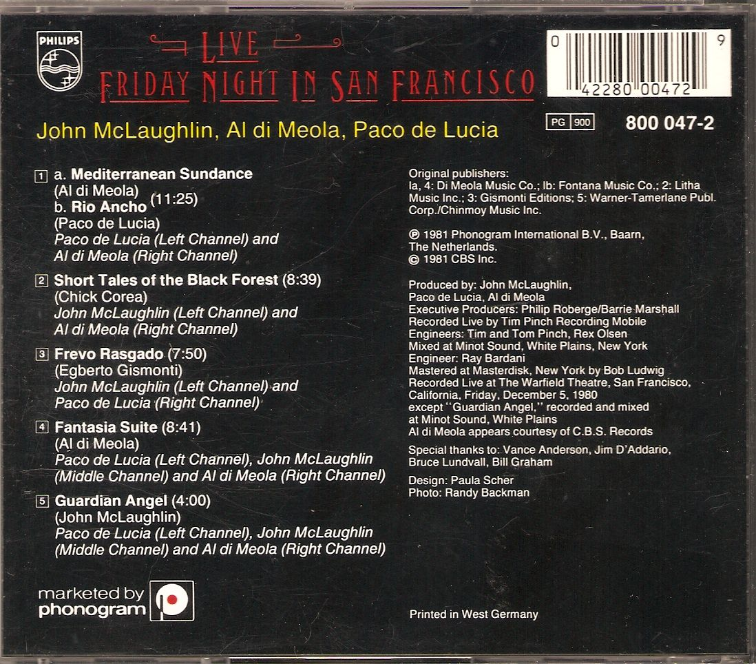 Al Di Meola John McLaughlin Paco De Lucia Friday Night In San Francisco