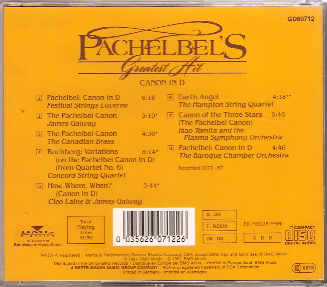 Pachelbel s Greatest Hit  Pachelbel Greatest Hits